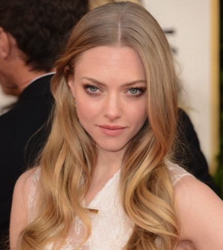 Amanda Seyfried  Severe Middle Part 70th Golden Globes